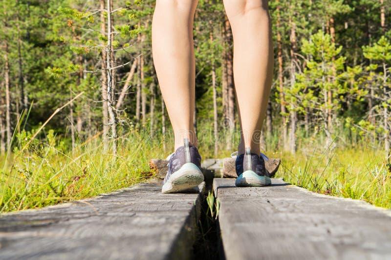 Ungt sportigt konditionkvinnaanseende på träbrädgång royaltyfri fotografi