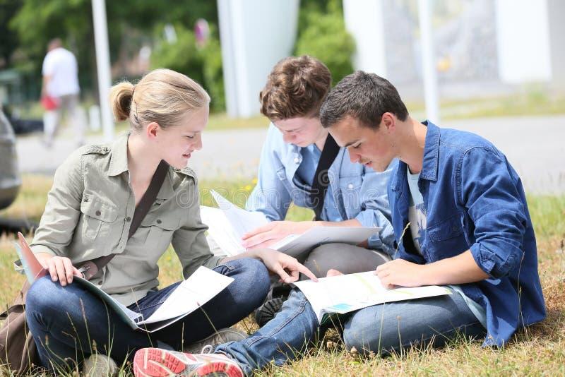 Ungt studentfolk som utomhus studiing royaltyfria bilder