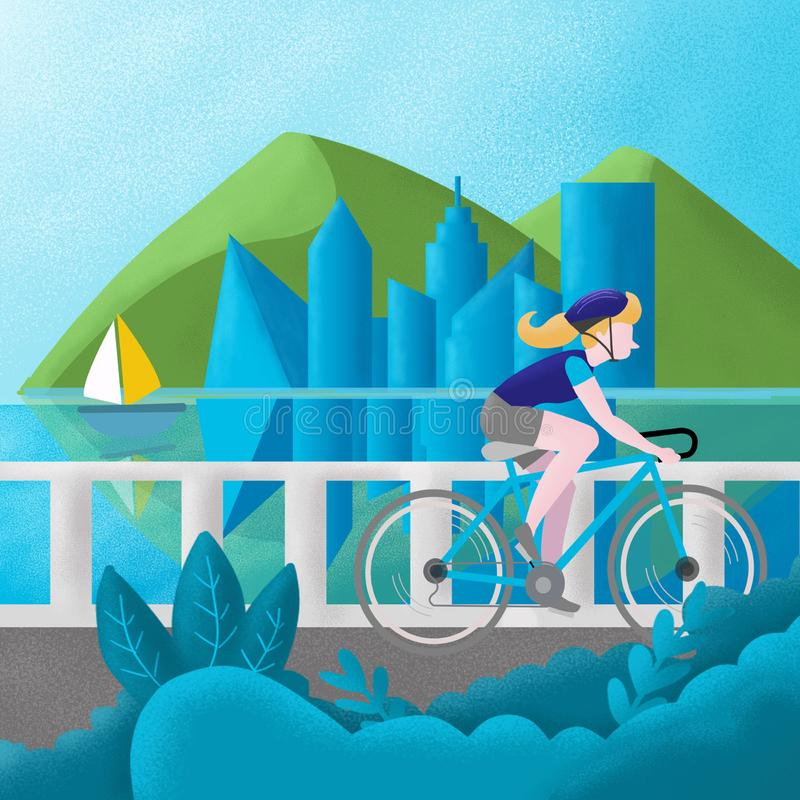 Ungt tonårigt i en blå T-tröja och en resor för blå hjälm längs floden på en cykel , illustration vektor illustrationer