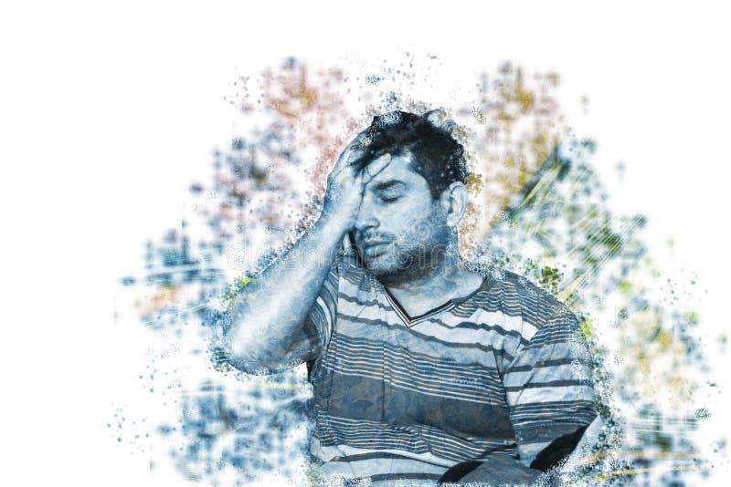 Ungt vuxet lidande för autism- och fördjupningsbegrepp från psykologiskt begrepp för autism eller för fördjupning royaltyfria foton