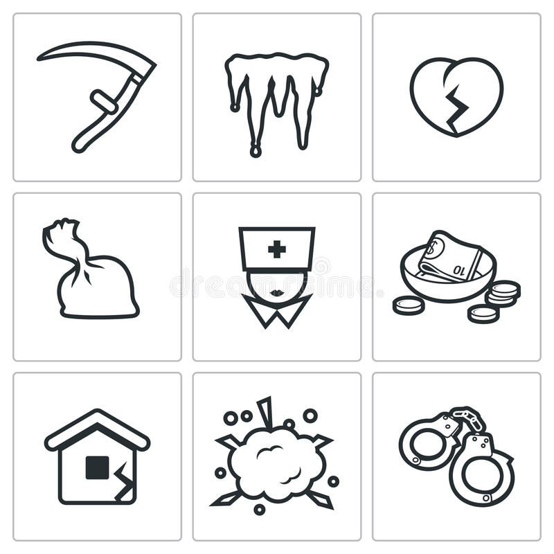 Free Unhappiness Icons. Vector Illustration. Royalty Free Stock Photo - 58499515