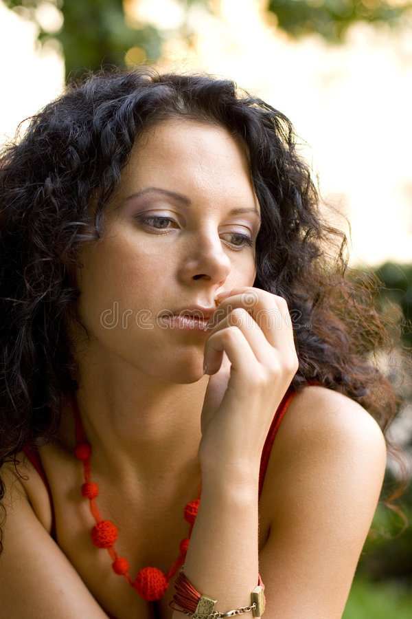 Unhappy attractive brunet woman royalty free stock image