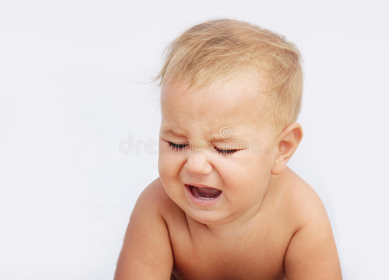 Download Unhappy Baby Child Isolated Over White Stock Photo - Image of emotional, studio: 26277806