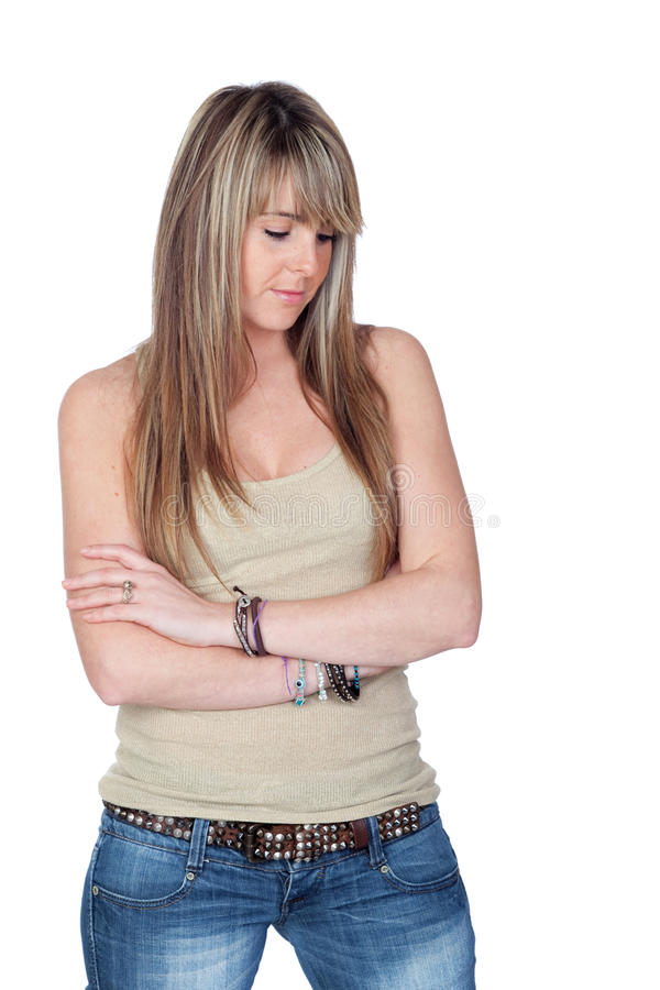 Unhappy Blond Girl Royalty Free Stock Images