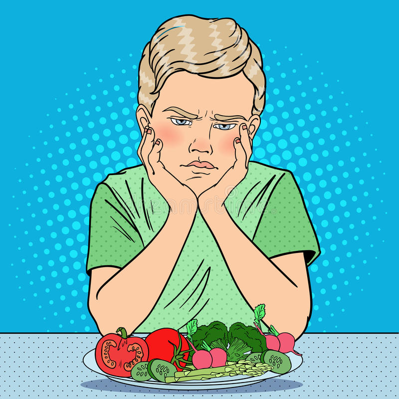 Unhappy Boy with Plate of Fresh Vegetables. Healthy Eating. Pop Art retro illustration royalty free illustration