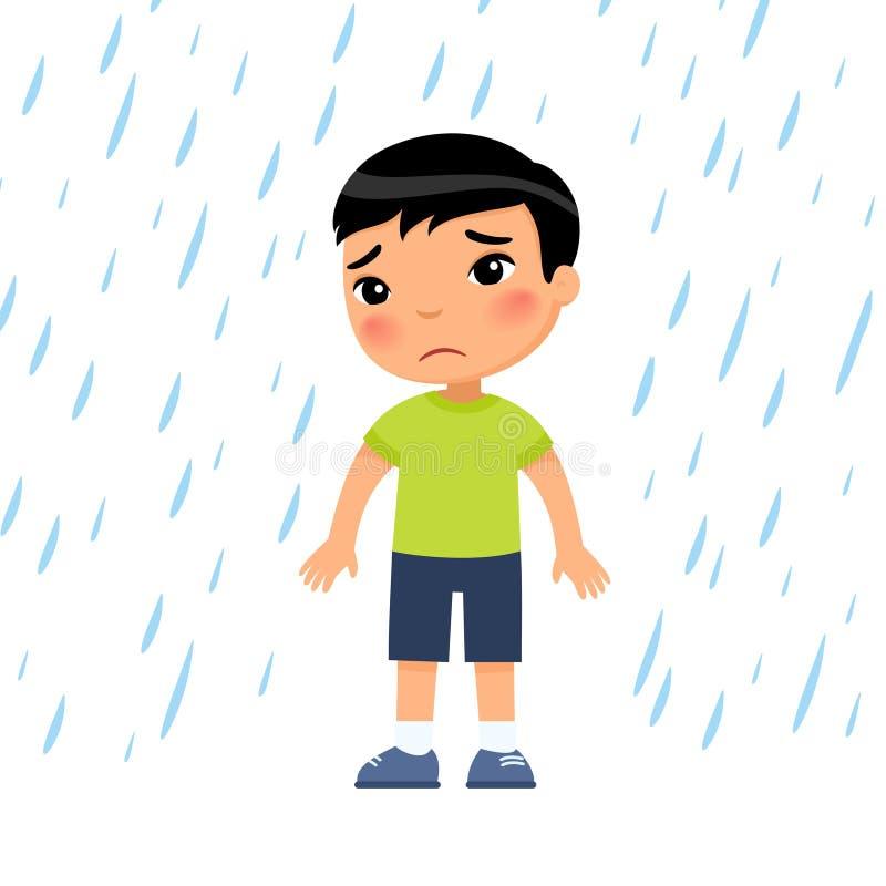 Free Unhappy Boy Under Rain Flat Vector Illustration. Sad Preteen Child In Bad Rainy Weather. Royalty Free Stock Image - 188488956