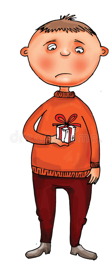 Free Unhappy Boy With Small Present Royalty Free Stock Photo - 18521595