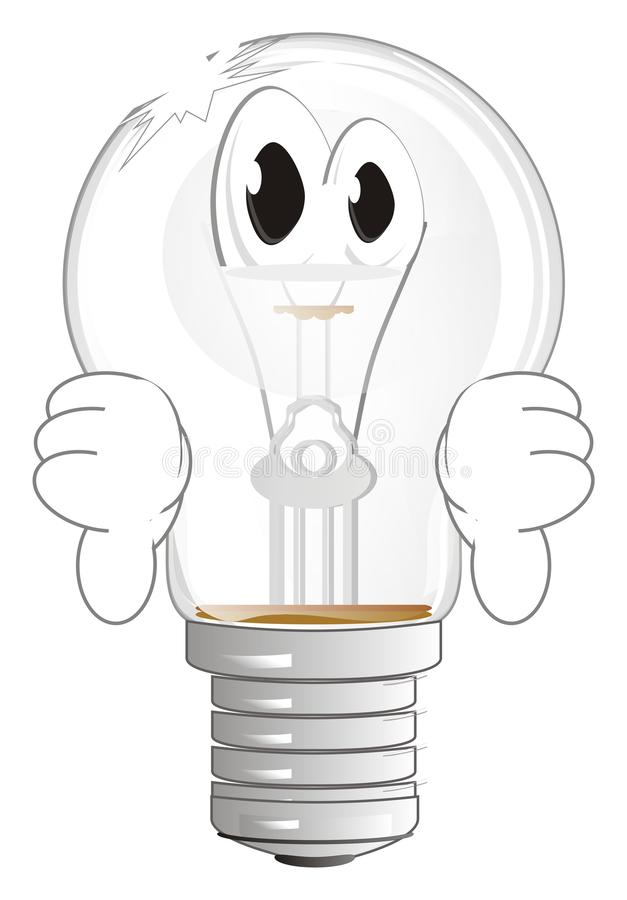 Broken and sad light bulb. Unhappy and broken light bulb stand and show gesture no good vector illustration