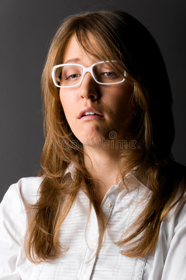 Download Unhappy businesswoman stock image. Image of head, look - 18455603