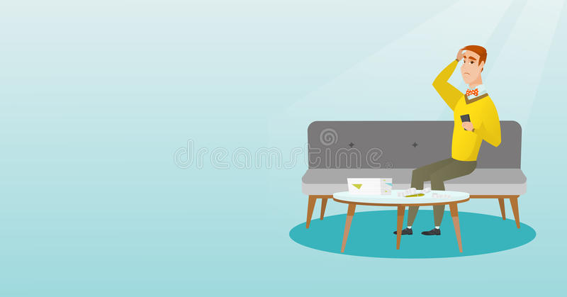 Unhappy caucasian man accounting home bills. Unhappy caucasian man calculating home bills. Worried young man sitting on a sofa and accounting costs for paying royalty free illustration