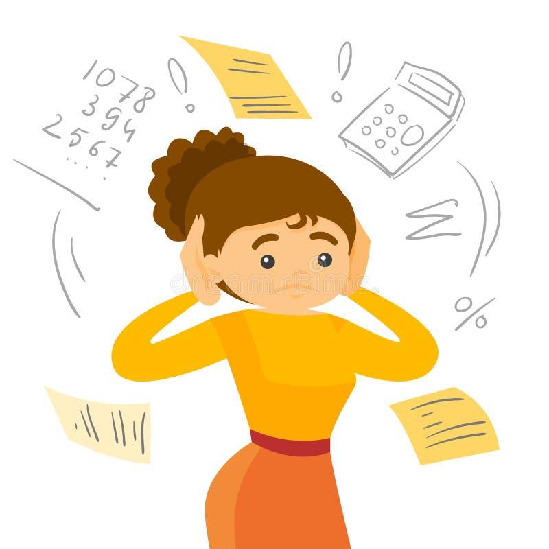 Caucasian white woman calculating home bills. vector illustration