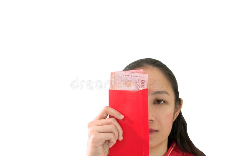 Unhappy Chiense woman red envelop with money New Year royalty free stock photo