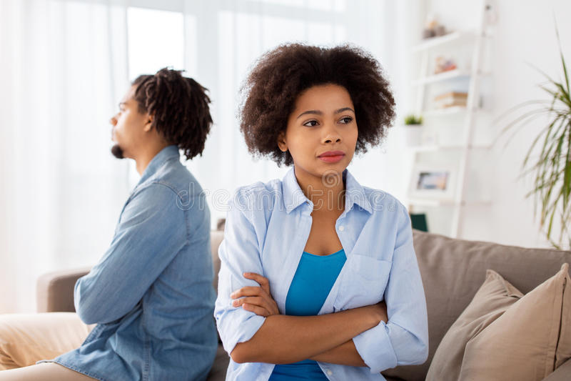 Unhappy couple having argument at home royalty free stock images
