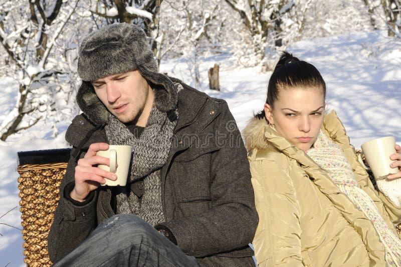 Unhappy couple making crisis stock photography
