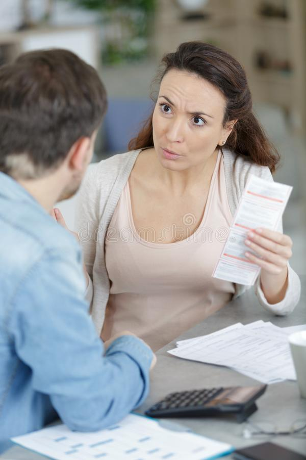 Unhappy couple with money problems royalty free stock photo