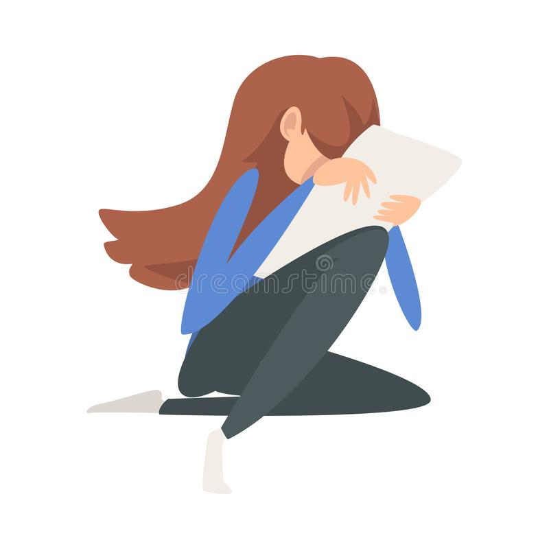 Unhappy Crying Girl Sitting on Floor with Letter, Lonely Broken Hearted Teenager Vector Illustration stock illustration