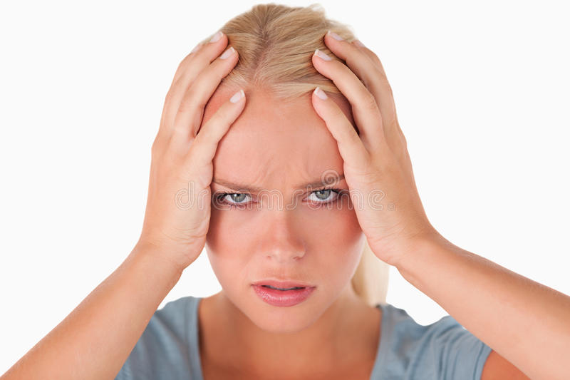 Unhappy cute woman royalty free stock images