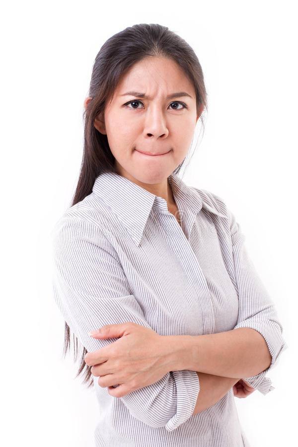Unhappy, displeased, irritated woman looking at you. Upset, displeased, irritated woman looking at you, white isolated background royalty free stock photo