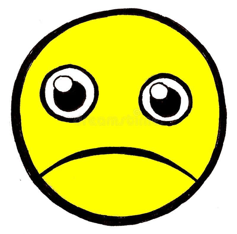 Unhappy face stock illustration