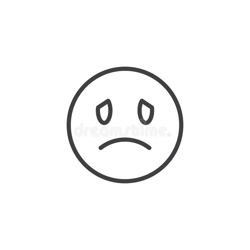 Unhappy face emoji line icon. Linear style sign for mobile concept and web design. Sad face emoticon outline vector icon. Symbol, logo illustration. Vector royalty free illustration