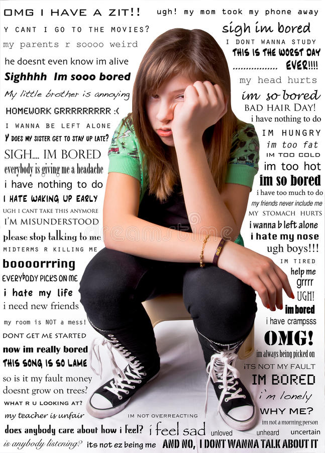 Unhappy Girl. A young teen girl with an unhappy expression, surrounded by her troubled thoughts royalty free stock image