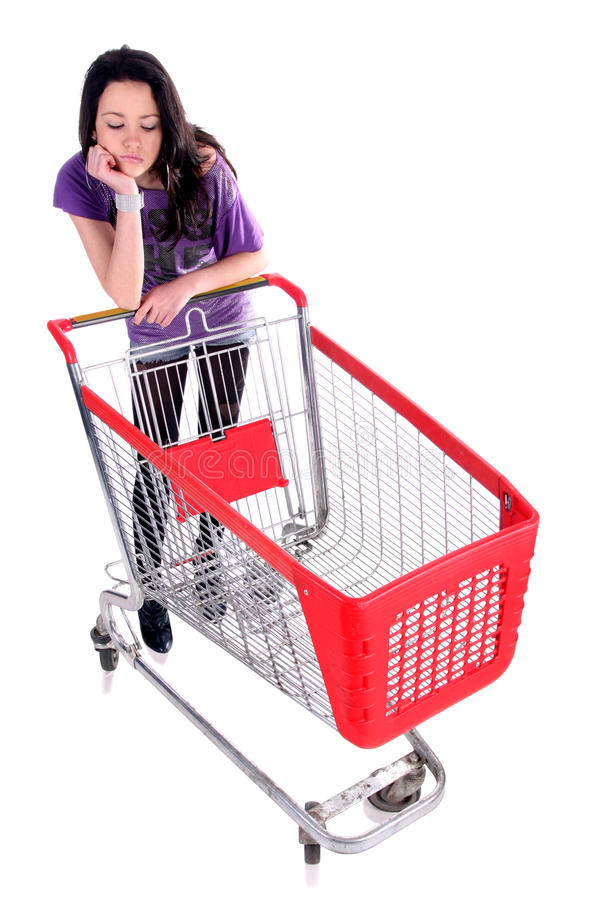 Unhappy Girl With Shopping Cart Royalty Free Stock Image