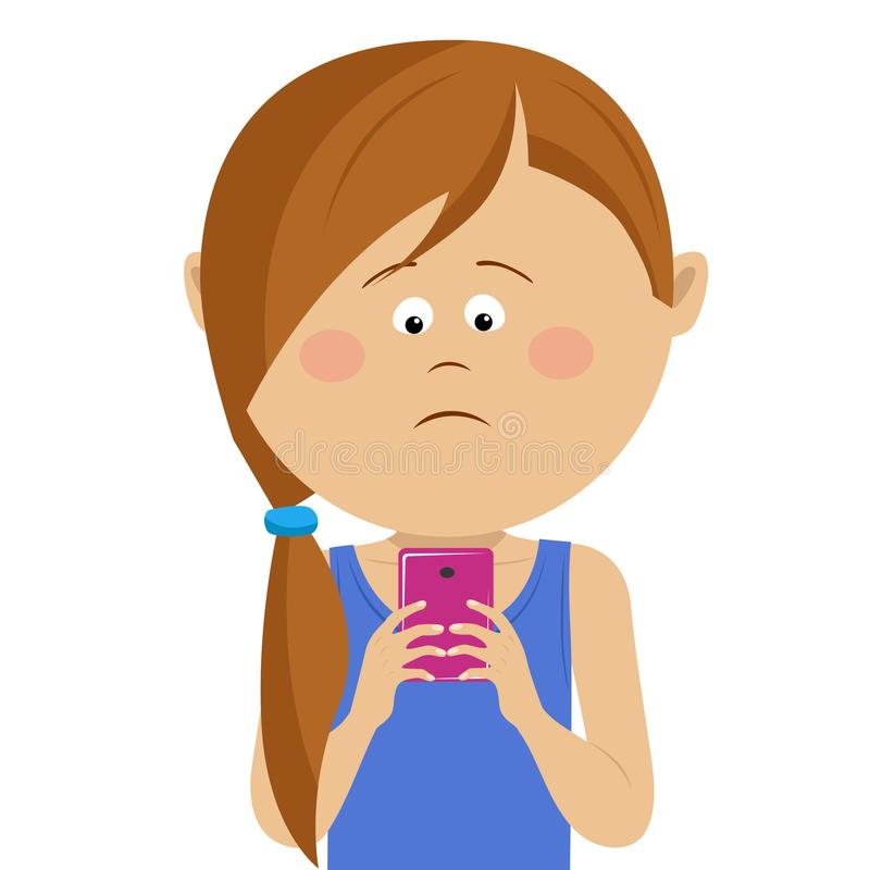 Unhappy little girl has received bad news on mobile smart phone vector illustration
