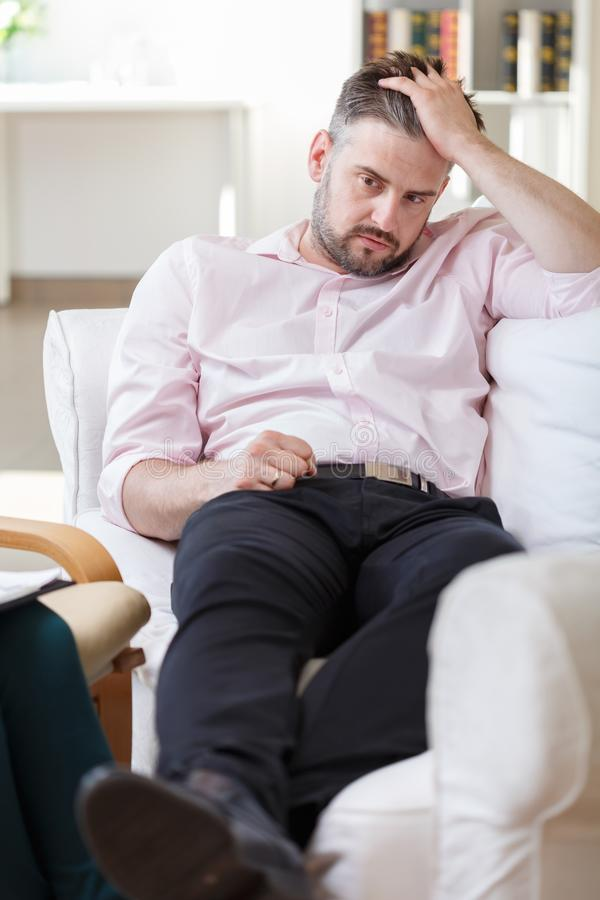 Unhappy male with mental problem royalty free stock image