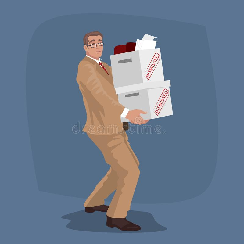 Unhappy man carry boxes with personal belongings royalty free illustration