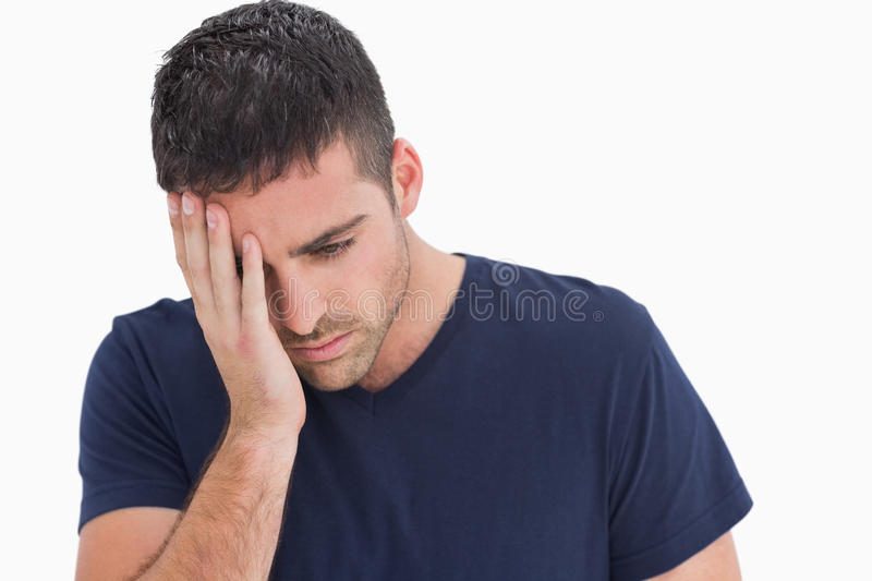 Download Unhappy Man With Head In Hand Stock Image - Image: 32232299