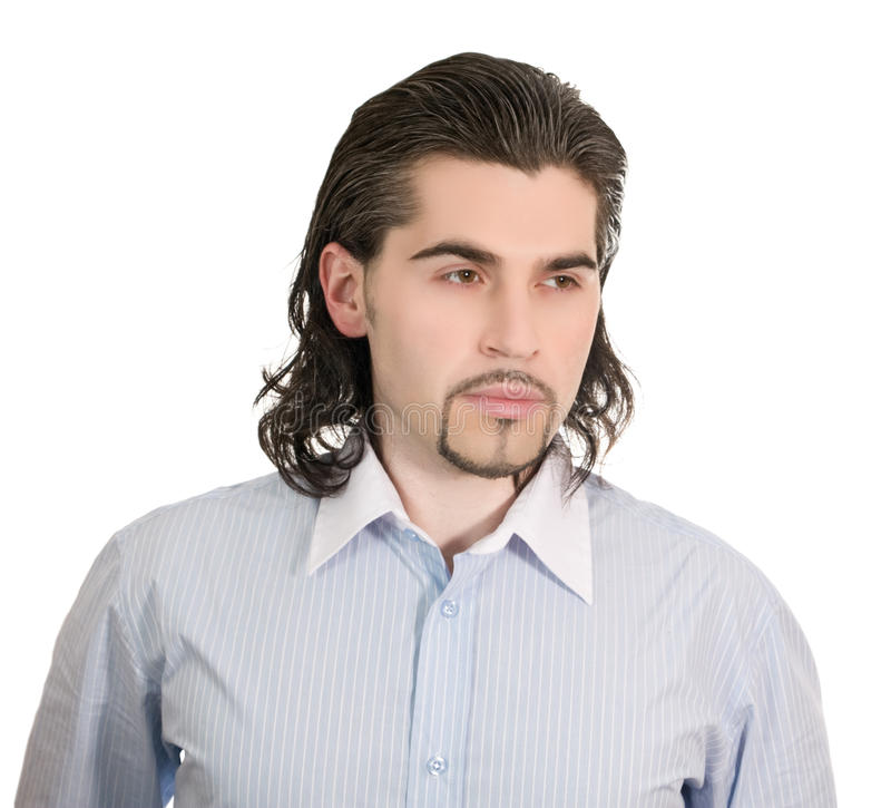 Unhappy man thinks of something isolated white royalty free stock photography
