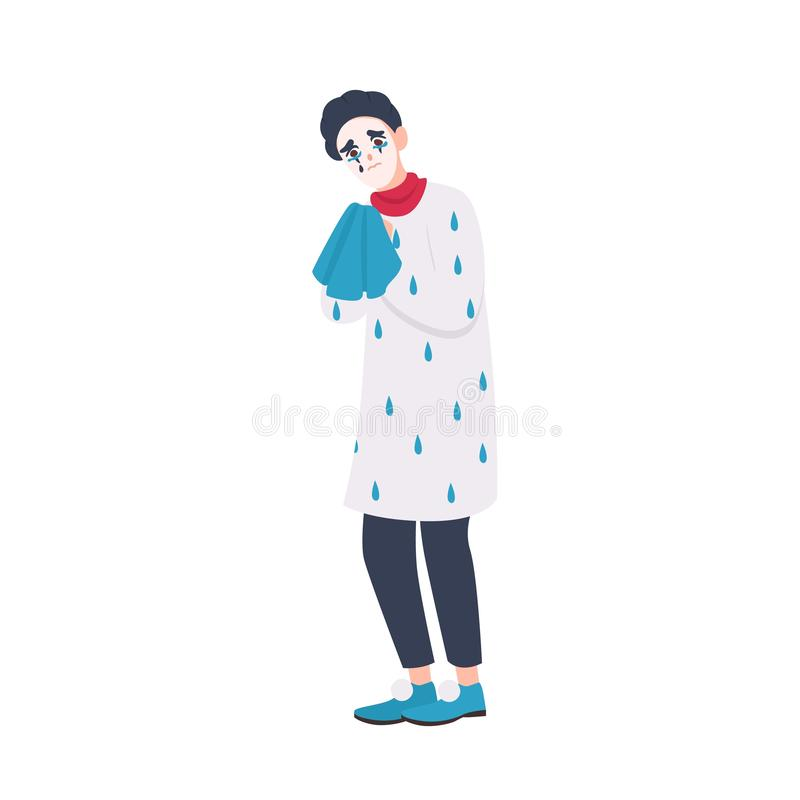 Unhappy mime in beret holding handkerchief and crying. Sad miserable comedian or entertainer isolated on white. Background. Performance artist weeping. Flat vector illustration