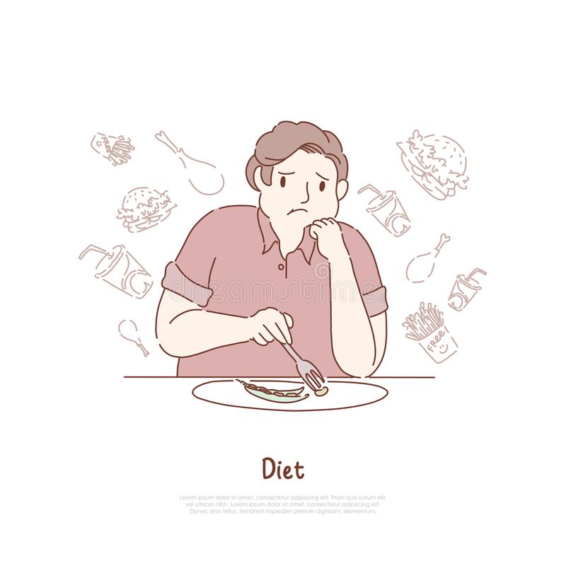 Unhappy obese man eating beans, dreaming about delicious hamburgers and fries, weight loss, healthy nutrition banner. Diet, unhealthy food restriction concept royalty free illustration