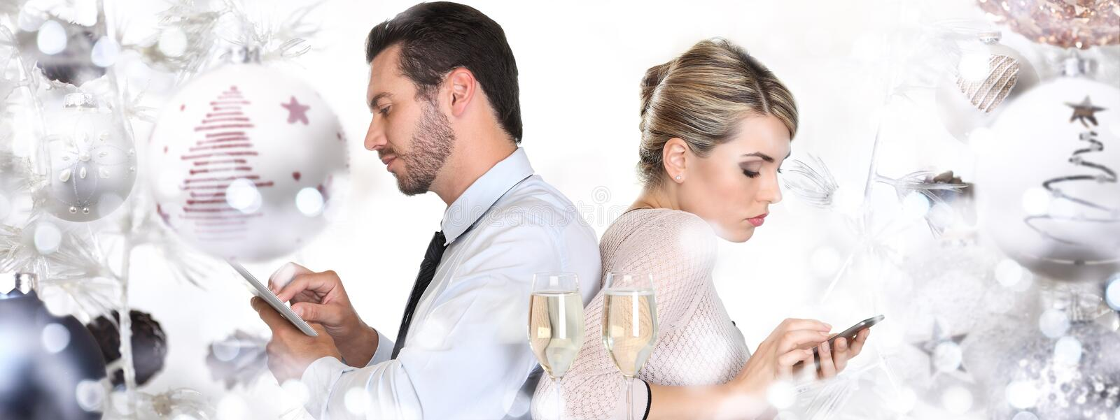Unhappy and querrel Couple back to back at christmas and happy n stock photos