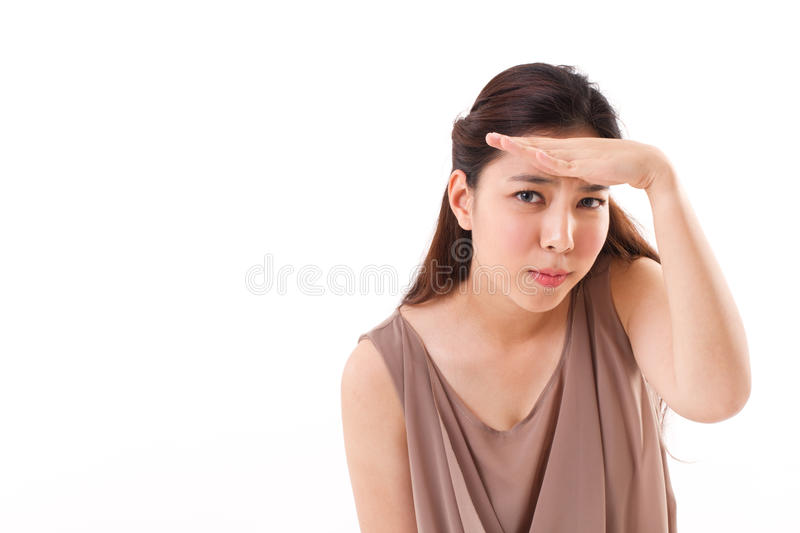 Unhappy, skeptical woman searching, looking at you. Unhappy, skeptical, frustrated woman searching, looking at you stock image