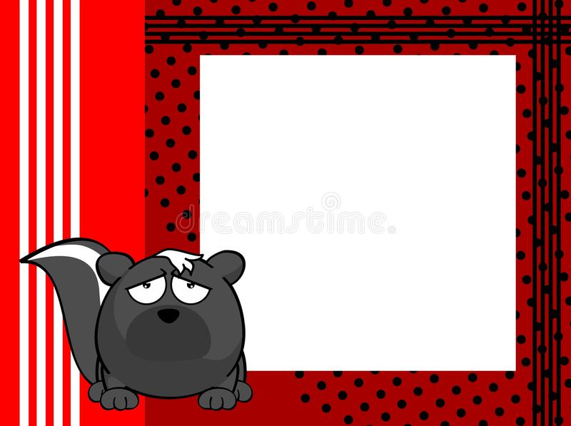 Unhappy Skunk ball frame cartoon background. Cute skunk ball frame cartoon background in vector format very easy to edit stock illustration
