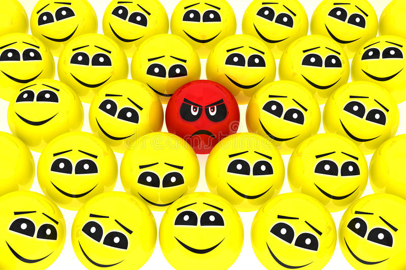 Download A Unhappy Smiley Stands Out From The Crowd Stock Illustration - Image: 19752890
