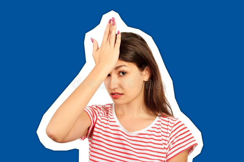 Unhappy student, female worker, hand on forehead very upset sad disappointed depressed. emotional girl Magazine collage style with stock image