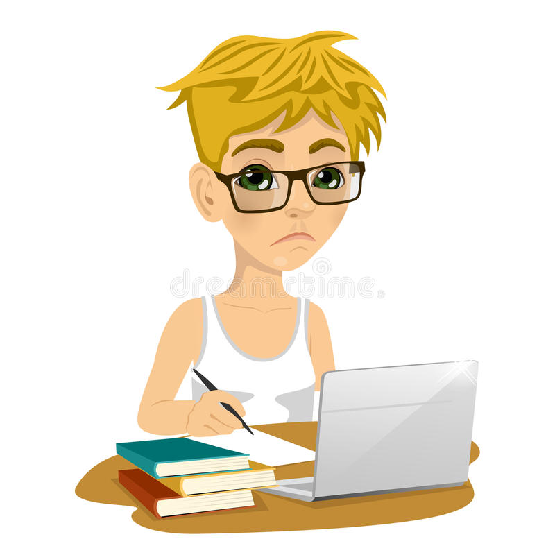 Unhappy teenage schoolboy with glasses doing his homework with laptop and books on desk vector illustration