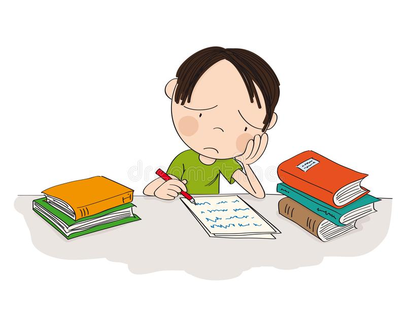 Unhappy and tired boy preparing for school exam, writing homework, feeling sad and bored - original hand drawn illustration. Unhappy and tired boy preparing for vector illustration