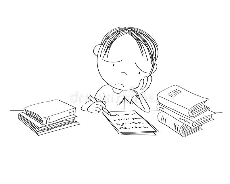 Unhappy and tired boy preparing for school exam, writing homework, feeling sad and bored. He is sitting behind the desk, his head in his hands - original hand vector illustration