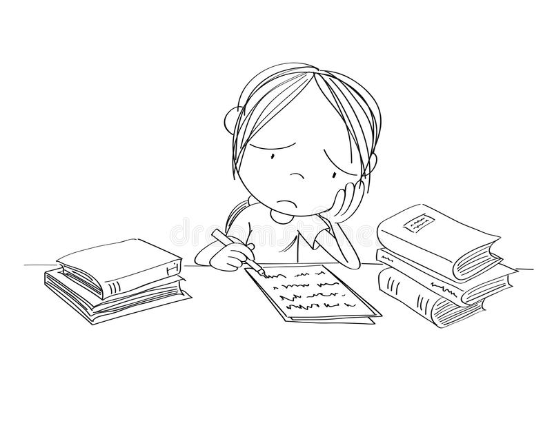 Unhappy and tired girl preparing for school exam, writing homework, feeling sad and bored - original hand drawn illustration. Unhappy and tired girl preparing vector illustration