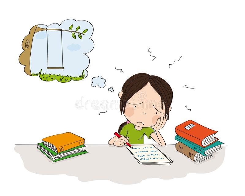 Unhappy and tired girl preparing for school exam, writing homework, feeling sad and dreaming about playing outside - original hand. Unhappy and tired girl royalty free illustration