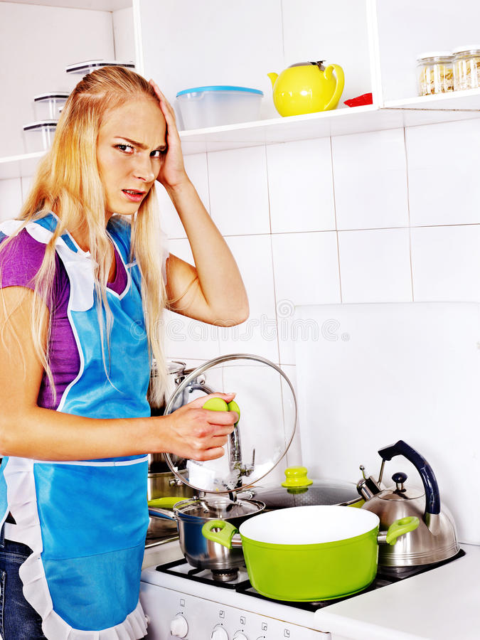 Download Unhappy Tired Woman At Kitchen. Stock Image - Image: 34070609