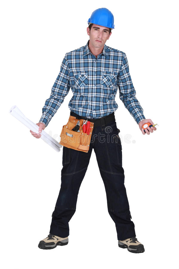 Download Unhappy tradesman stock image. Image of portrait, isolated - 33678233