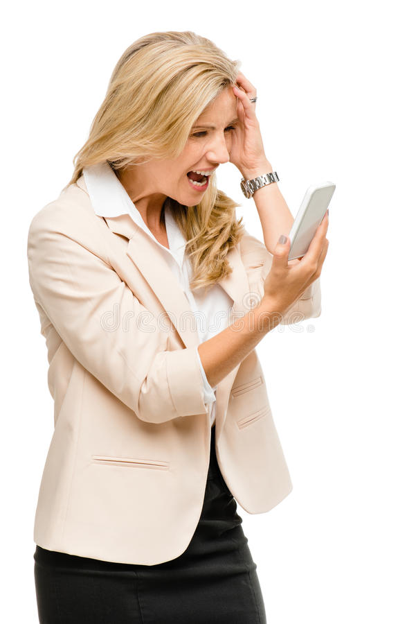 Download Unhappy Woman Fighting Using Mobile Phone Isolated On White Back Stock Photo - Image: 31645094