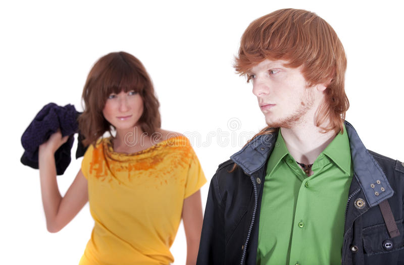Download Unhappy Woman Throwing Shirt Stock Photo - Image: 11903798