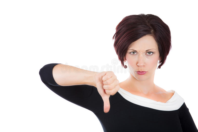Unhappy woman, wife, businessperson giving thumbs down gesture stock images