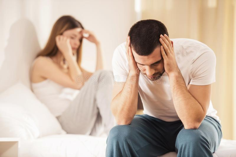 Unhappy Young Couple has Problems in Relationships. Conflict in Family Concept. Tired from Long Relationship. Difficulties in Love. Family Life concept stock images