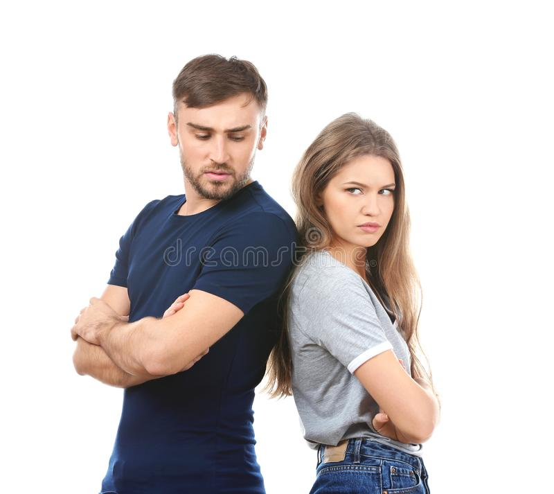 Free Unhappy Young Couple On White Background Royalty Free Stock Images - 110102839